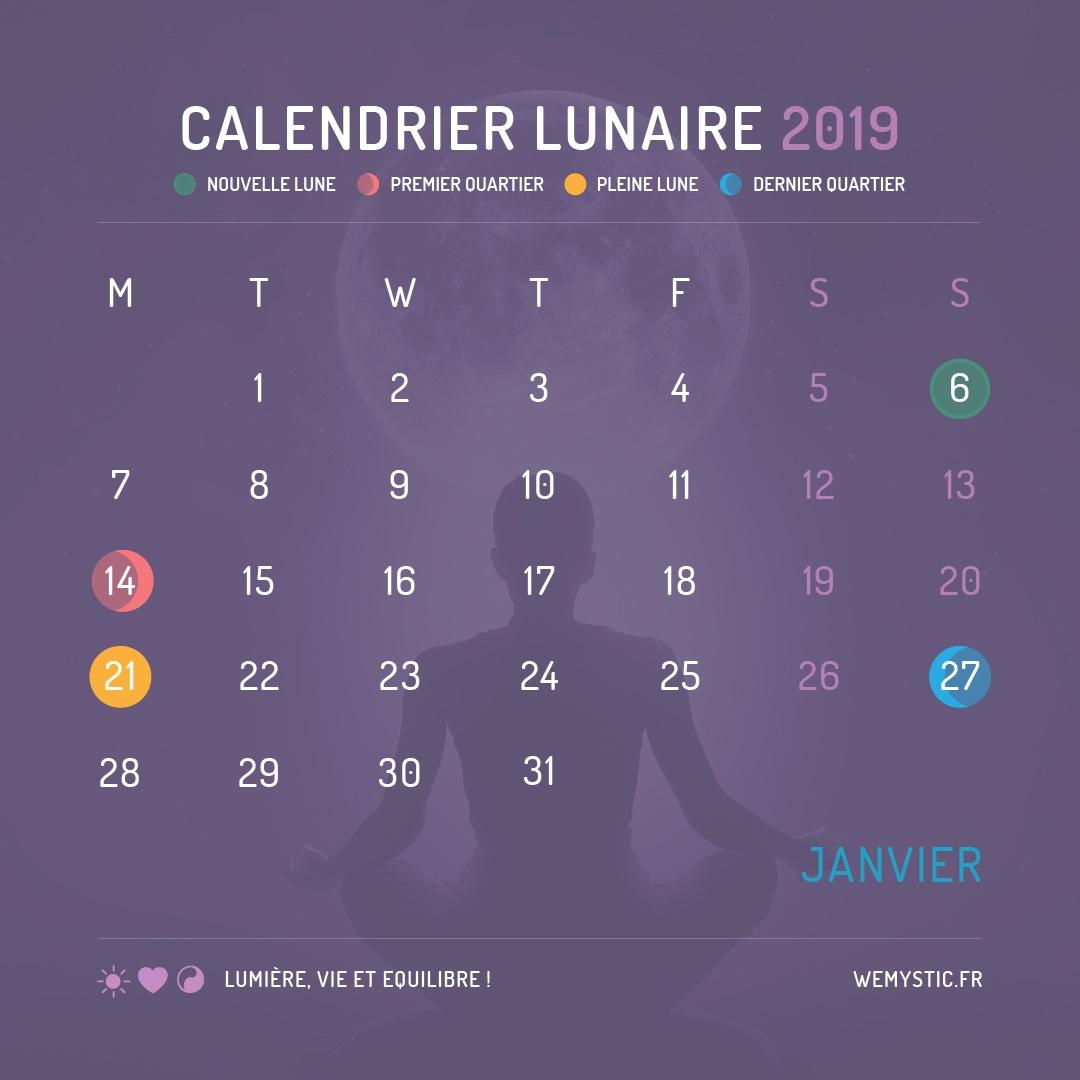 2019 selon le calendrier lunaire janvier