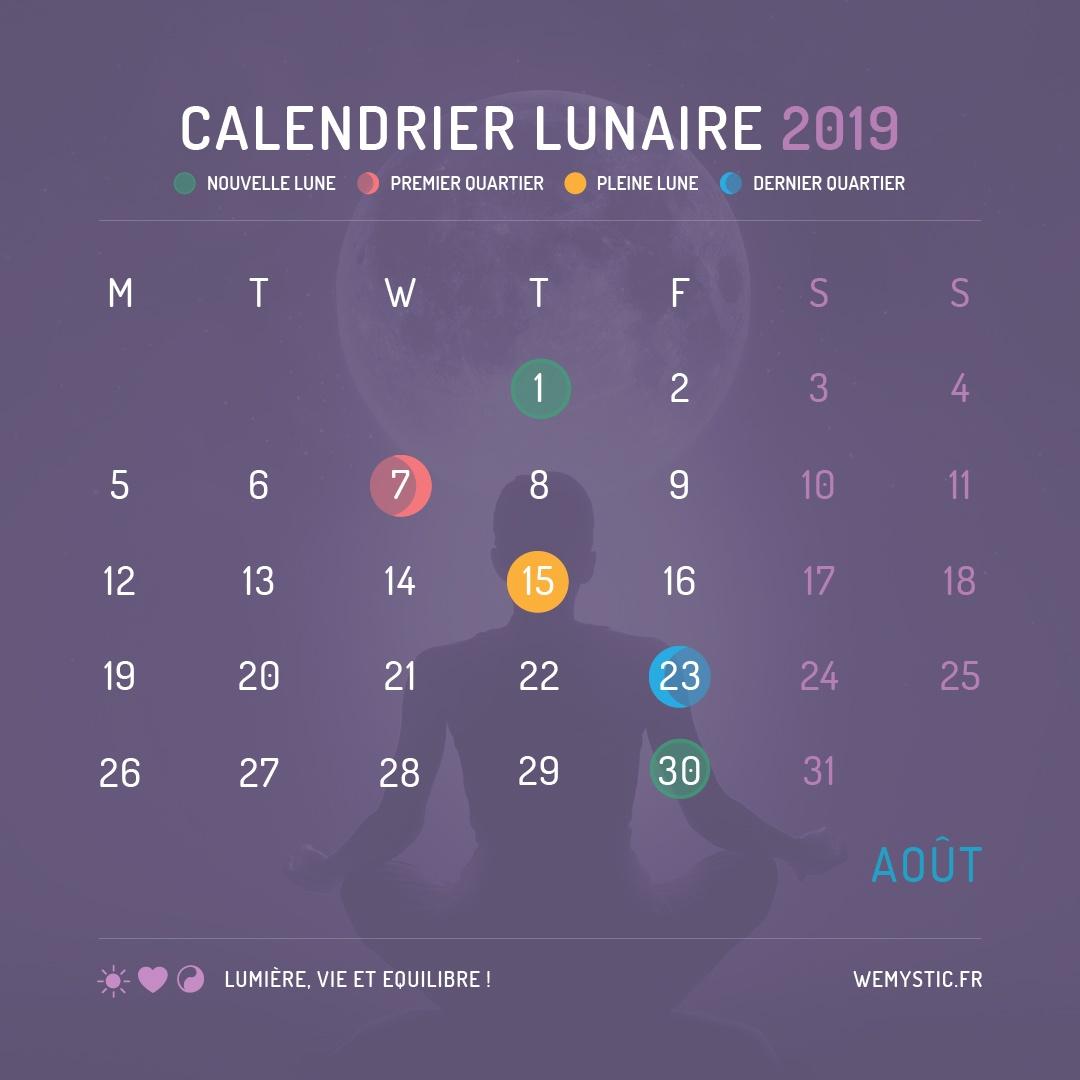 2019 selon le calendrier lunaire aout