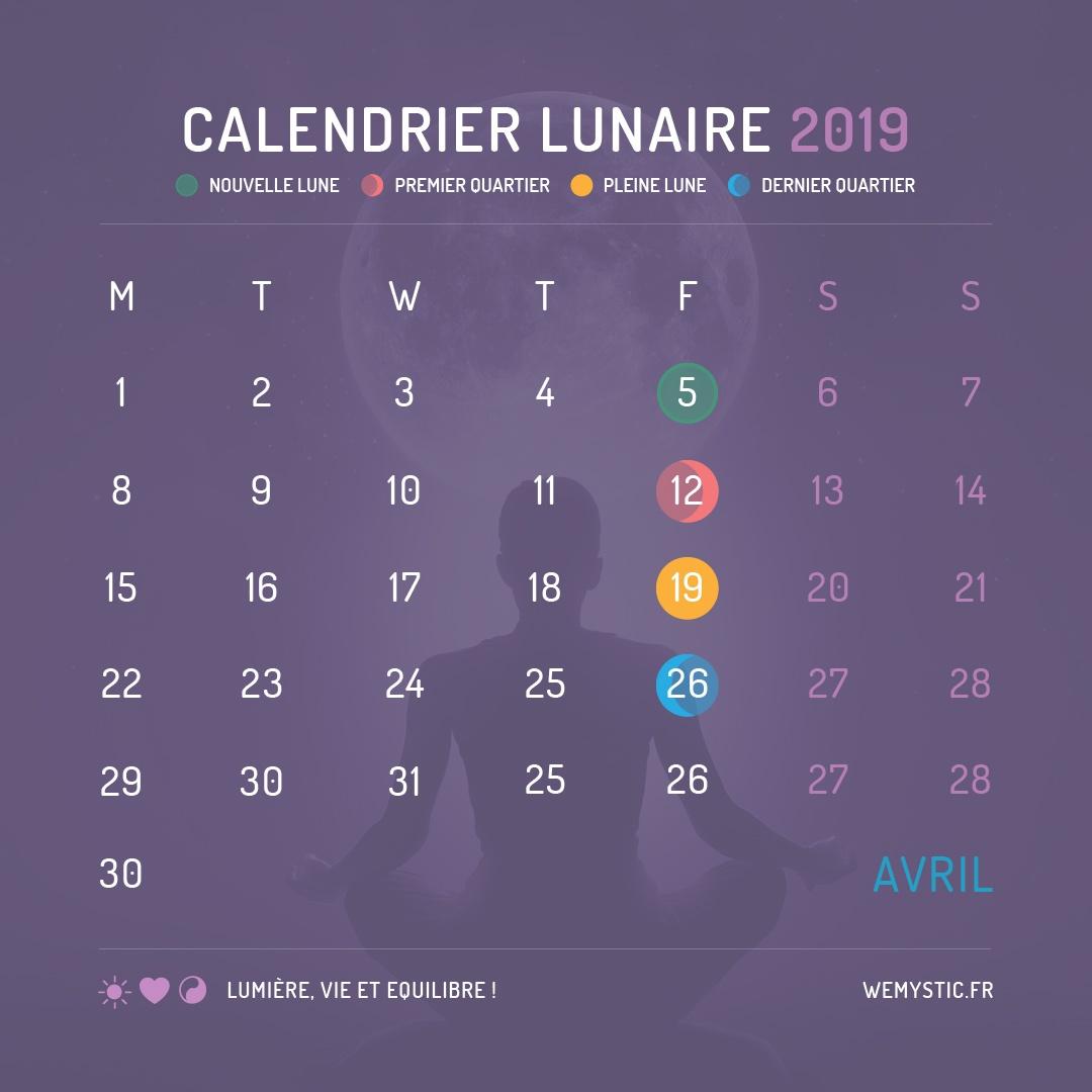 2019 selon le calendrier lunaire avril