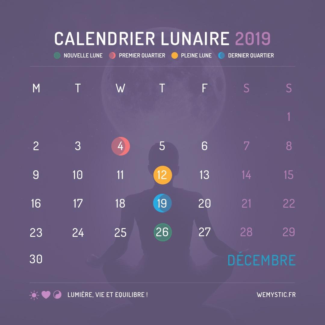 2019 selon le calendrier lunaire decembre