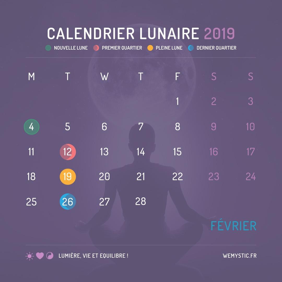 2019 selon le calendrier lunaire fevrier