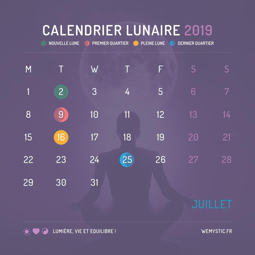 2019 selon le calendrier lunaire juillet