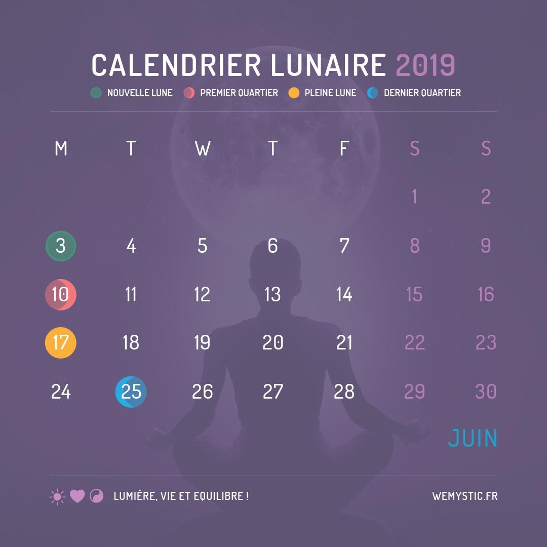 2019 selon le calendrier lunaire juin