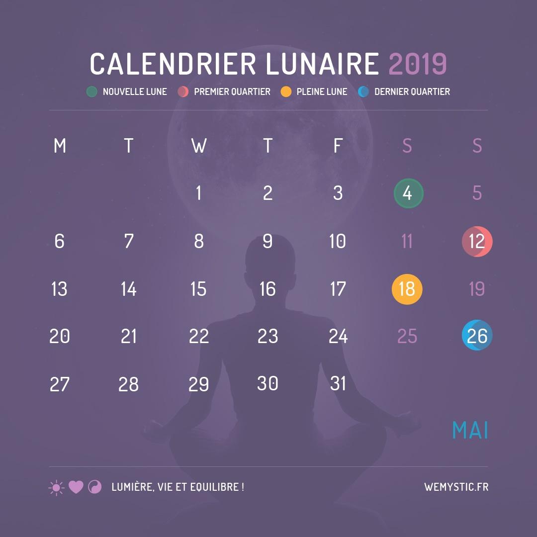 2019 selon le calendrier lunaire mai