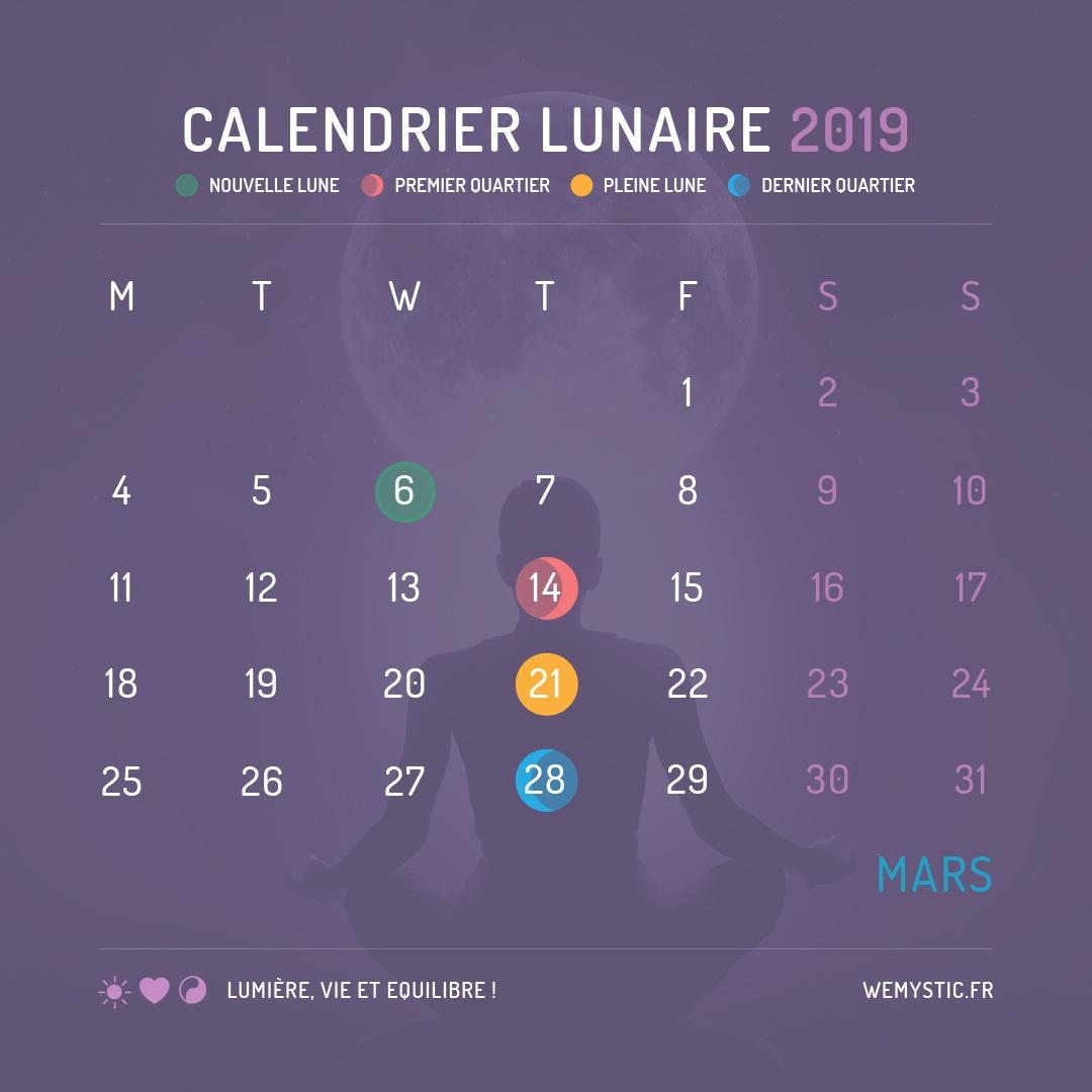 2019 selon le calendrier lunaire mars