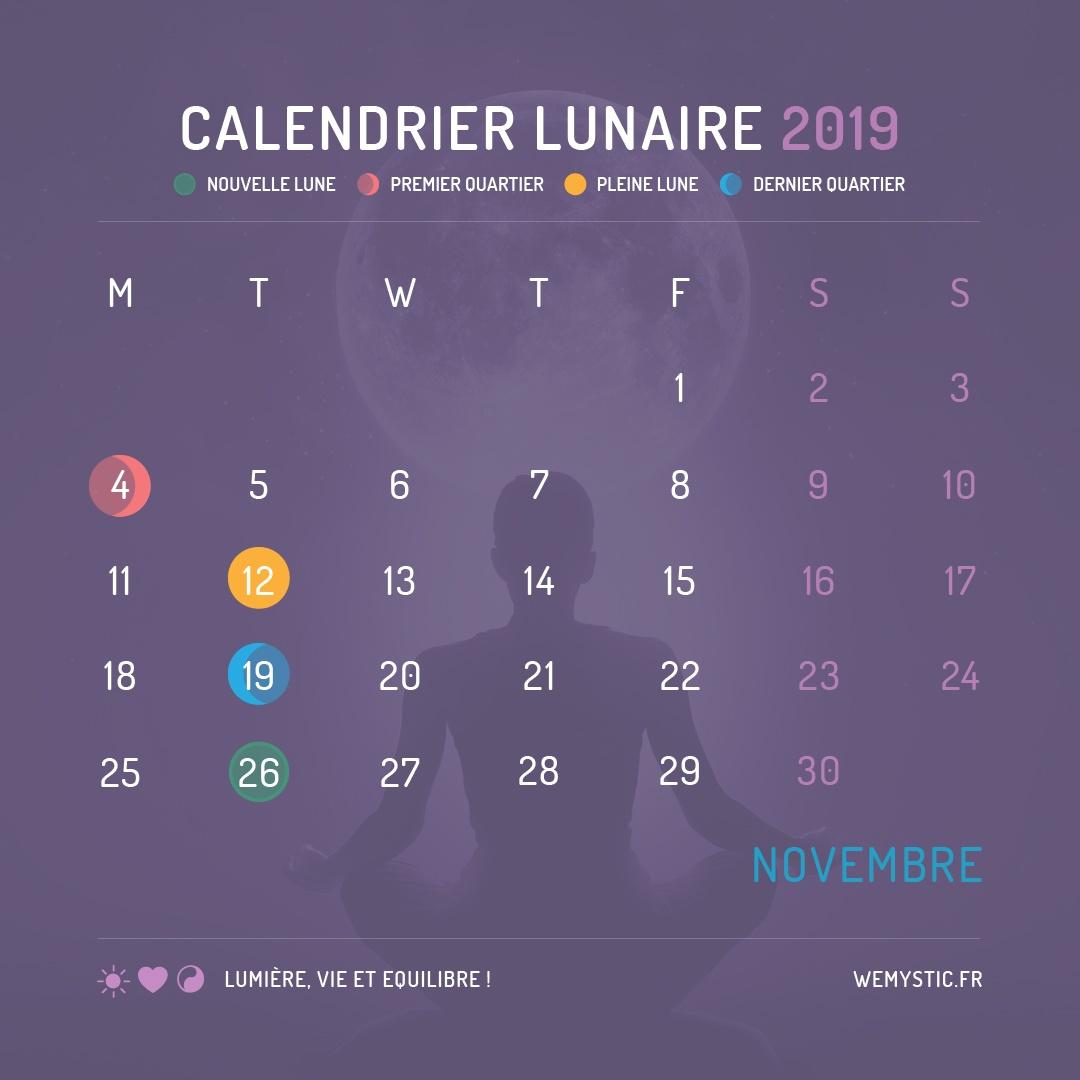 2019 selon le calendrier lunaire novembre