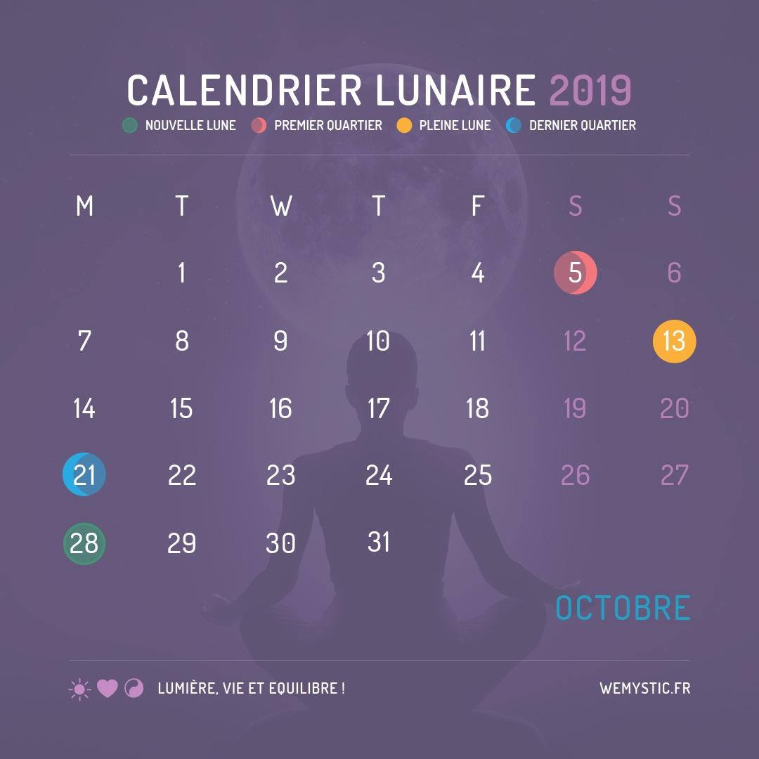 2019 selon le calendrier lunaire octobre