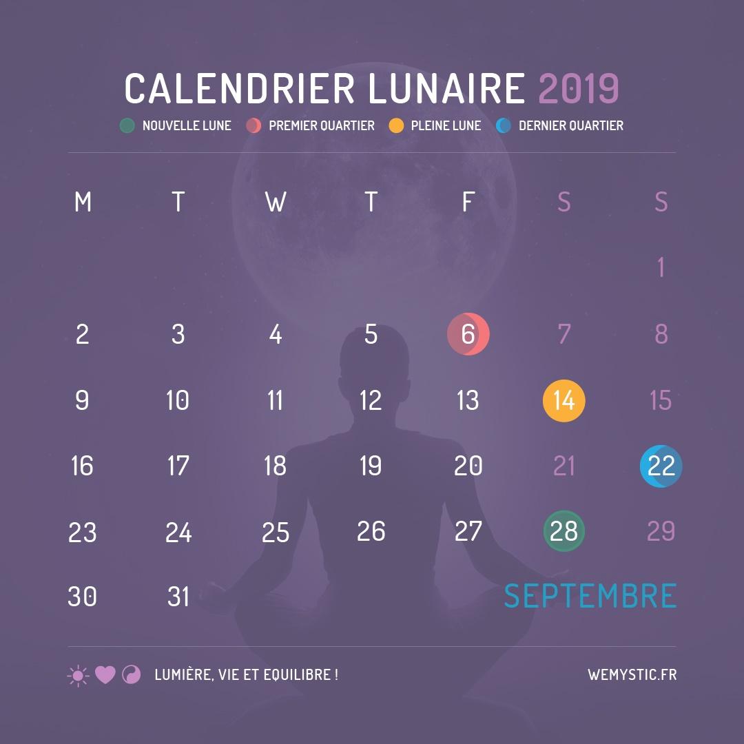 2019 selon le calendrier lunaire septembre